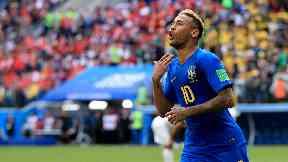 Neymar celebrates after scoring Brazil's second.