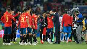 Drama: Spain's late goal went to video review.