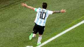 Hero: Messi set his side on the path to victory.