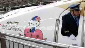 All aboard the Hello Kitty: Pink bullet train debuts in Japan
