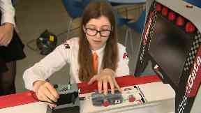 Girl from Velocity Racing F1 team at Inveralmond High School.