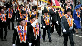 People take part in Orange walk in Glasgow