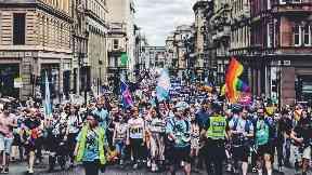 Nicola Sturgeon leading Pride parade in Glasgow July 14 2018