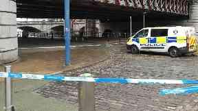 Attack: Path under bridge cordoned off. Glasgow Caledonian Railway Bridge Broomielaw
