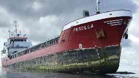 Priscilla, cargo ship which ran aground in Pentland Firth.