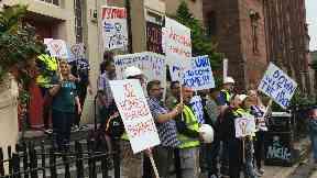 Protest outside Glasgow School of Art Mackintosh building cordon. July 22 2018