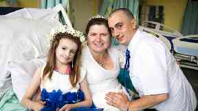 Kayleigh, 11, leaves hospital sickbed to be bridesmaid for her parents