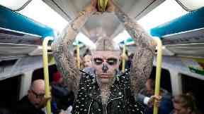 Rick Genest, also known as 'Zombie Boy', travels on the London Underground to celebrate the launch of 'Platform 15 on October 7 2016.