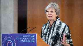 Prime Minister Theresa May speaks at the University of Edinburgh before signing the Edinburgh and South East Scotland City Region Deal.