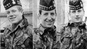 Photographs of the three British soldiers killed in an ambush in Ligoniel on the outskirts of Belfast. They are John McCraig 17 (L) his brother Joseph, 18 (R) and Dougald McCaughy,23.