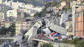 Rescuers search for survivors after Genoa bridge collapse