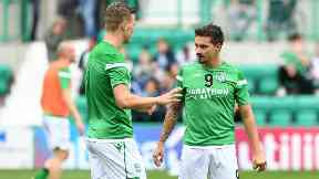 Flo Kamberi (left) and Jamie Maclaren (right) have both signed permanent deals with Hibs.
