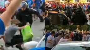 Rangers: Fans clashed with riot police. Maribor Slovenia