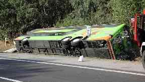 16 hurt as bus overturns on German motorway