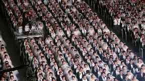 Thousands of couples take part in mass wedding in South Korea