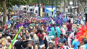Crowds during the Notting Hill Carnival in west London.