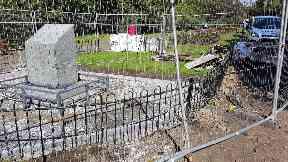 Damage: Memorial set on fire. Dennistoun War Memorial Alexandra Park Glasgow