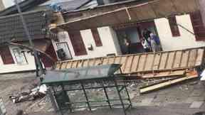 Debris: Pub cordoned off. Greenock Cardwell Bar