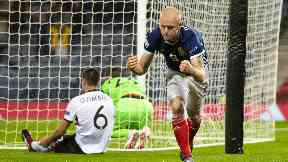 Starting role: Hearts attacker Steven Naismith is in pole position to start up-front for Scotland going forward.