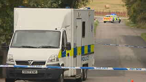 Death: Road cordoned off by police. Sauchen John Thomson
