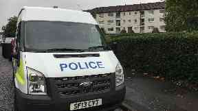 Easterhouse: Stretch of the street taped off. Durno Path Glasgow