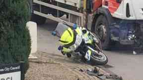 Crash: Roundabout blocked after collision. Haudagain roundabout Aberdeen Police Motorbike