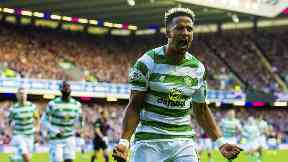 Opener: Scott Sinclair scored Celtic's first goal from the penalty spot.