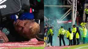 Edinburgh: Five arrests were made. Hearts Hibs Neil Lennon Coin