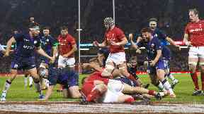 Scotland's players celebrate Stuart McInally's try.