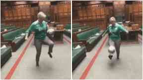 Hannah Bardell MP pictured playing football in House of Commons 2018