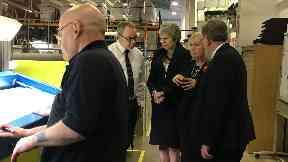 Theresa May visits Scottish Leather Group factory November 28 2018