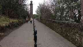 Calton Hill: Officers cordoned off the area. Edinburgh