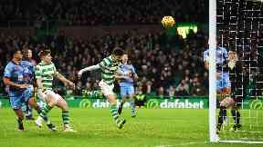 Heads up: Johnstone grabs his third competitive goal for Celtic.