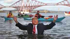 Donald Trump costume swimmer, Loon Dook 2019