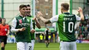 Partnership: Martin Boyle (right) and Emerson Hyndman (left) celebrate a Hibs goal together.