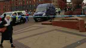 Bank: Street cordoned off by police. Royal Bank of Scotland Duke Street Glasgow