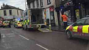 Lanark: Road closed by emergency services. High Street