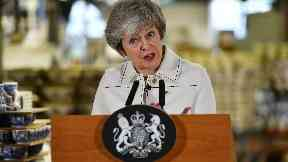 Prime Minister Theresa May making a speech during a visit to the Portmeirion pottery factory in Stoke-on-Trent. Jan 14 2019