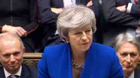 Prime Minister Theresa May speaks during the debate for the Government no confidence motion in the House of Commons, London.