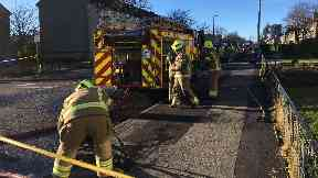 Fire: Roads have been closed following the blaze. Mastrick Road Aberdeen