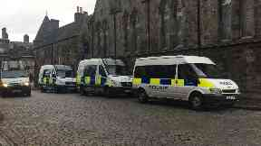 Police: Officers were called to the parliament.  Extinction Rebellion Scotland group Protest