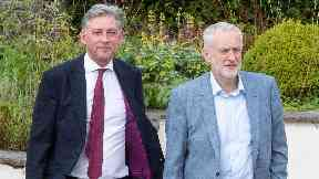 Richard Leonard and Jeremy Corbyn in Lanark.