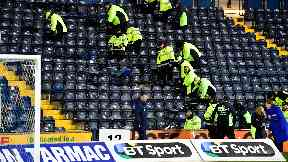 Seats in the away end of Rugby Park were damaged.