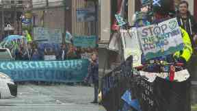 Glasgow: Protesters marched through the streets.