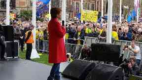Nicola Sturgeon: She joined marchers as part of the Put it to the People protest.