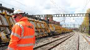 New rail track sections being delivered Network Rail engineer trains generic