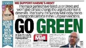 Sunday Mail backs Scottish Greens for European election May 12 2019.