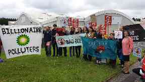 Protesters outside BP AGM in Aberdeen on May 21 2019