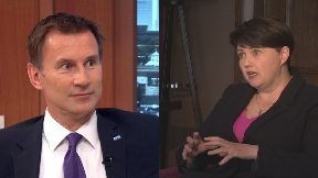 Jeremy Hunt and Ruth Davidson collage.