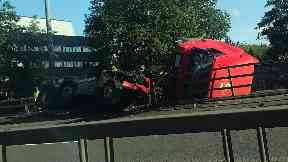 Royal Mail truck on M8
